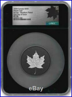 2020 Canada $50 Silver Maple Leaf 3oz INCUSE BLACK Rhodium NGC PF70 FDOI