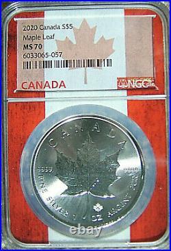2020 Canada S$5 MAPLE LEAF 1 Oz Silver Bullion Strike NGC MS70 FLAG CORE