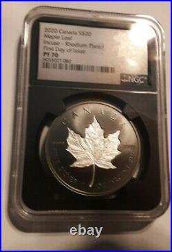 2020 Canada Silver Proof Maple Leaf INCUSE BLACK Rhodium NGC PF70 FDOI IN-HAND