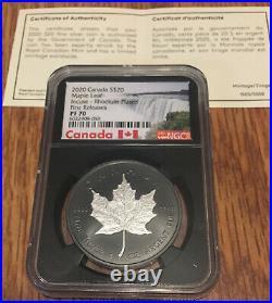 2020 Canadian Maple Leaf Incuse Rhodium NGC PF70 Black Core Silver 1oz FR