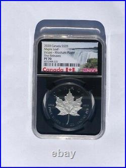 2020 Canadian Silver Maple Leaf Incuse Black Rhodium 1 oz $20 Proof NGC PF70 FR