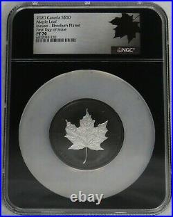 2020 SILVER 3oz CANADA + 1.1 GRAM RHODIUM GILT PROOF $50 MAPLE LEAF PR 70 FDOI