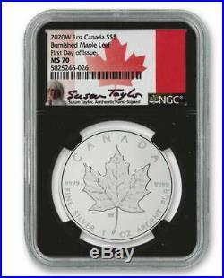 2020 W 1oz Canada $5 Burnished Silver Maple Leaf NGC MS70 FDOI Taylor Signature