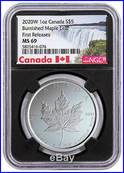 2020 W Canada 1 oz Burnished Silver Maple Leaf $5 NGC MS69 FR WithCOA Blk SKU59503