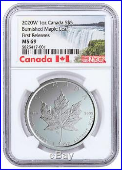 2020 W Canada 1 oz Burnished Silver Maple Leaf $5 NGC MS69 FR WithCOA SKU59502