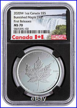 2020 W Canada 1 oz Burnished Silver Maple Leaf $5 NGC MS70 FR WithCOA Blk SKU59505