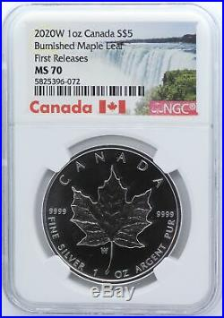 2020-W Canada Burnished Maple Leaf 1 oz Silver NGC MS70 Coin JD763