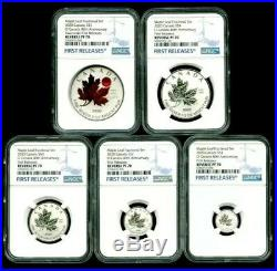 2020'o' Canada Silver Red Crystal Maple Leaf Ngc Pf70 Rev Proof 5 Coin Set Fr