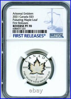 2021 $3 1/4 Oz Canada Silver Pulsating Maple Leaf Ngc Pf70 Rev Proof Mintage 3k