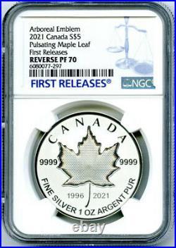 2021 $5 1 Oz Canada Silver Pulsating Maple Leaf Ngc Pf70 Rev Proof Mintage 3k
