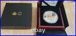 2021 5oz 50 Dollar Silver withgold Maple Leaves in Motion Coin