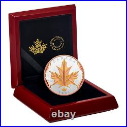 2021 CANADA MAPLE LEAF MOTION 50$ 5oz. 99.99% PURE SILVER ROSE GOLD PLATING COIN