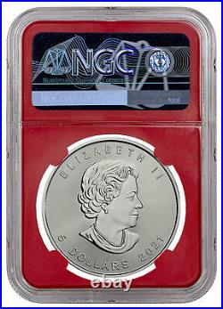 2021 Canada 1 oz Silver Maple Leaf $5 Coin NGC MS70 FR Red Core Exclusive Label