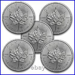 2021 Canada 1 oz Silver Maple Leaf BU Lot of 5