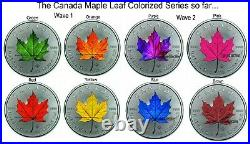 2021 Canada Maple Leaf 4 Seasons Set of 4 x 1 Ounce Silver Colorized Series