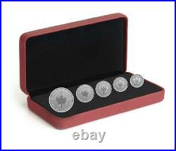 2021 Canada Pulsating Maple Leaf 5 Coin Fractional Silver set