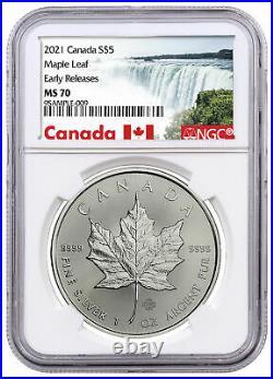 2021 Canada S$5 MAPLE LEAF 1 Oz. Silver NGC MS70 ER POP 10 RARE