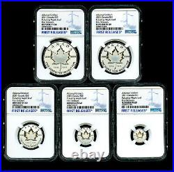 2021 Canada Silver Pulsating Maple Leaf 5-coin Set Ngc Pf69 Rev Proof Mintage 3k