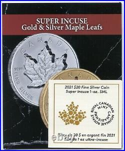2021 Canada Super Incuse Maple Leaf 1 oz Silver $20 Coin with COA & OGP JL24