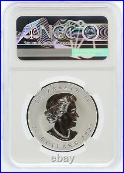 2021 Canada Super Incuse Maple Leaf 1 oz Silver NGC PF70 Reverse $20 Coin JK947
