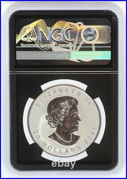2021 Canada Super Incuse Maple Leaf 1 oz Silver NGC PF70 Reverse $20 Coin JL22