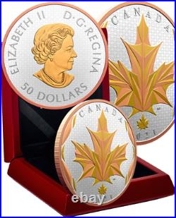 2021 Maple Leaf Motion Faceted $50 5OZ Silver Coin Canada Maple Leaf 25 Privy