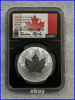 2021 W $5 Canada Tailored Specimen Maple Leaf NGC SP70 First Day Taylor Signed
