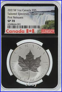 2021 W Canada Maple Leaf 1 oz Silver Tailored Specimen NGC SP70 $5 Coin JK422
