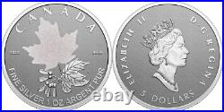 2022 Radiant Crown Maple Leaf $5 1OZ Pure Silver Proof Coin Queen Canada