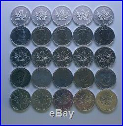 25 x 1oz 2011 Canadian Maple Leaf. 9999 purity silver bullion coins uncirculated