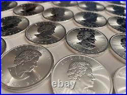 25 x 1oz. 9999 Silver Canadian Maple Bullion Coins (2017)