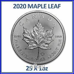 25 x 2020 1oz Silver Maple Leaf Bullion Coins in Canadian Mint Tube