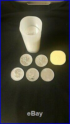 25 x Canadian Maple leaf 1 oz silver coins. 9999