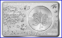 3 oz 30th Anniversary Maple Leaf 1 oz + 2 oz Fine Silver Bar Set Canada 2018