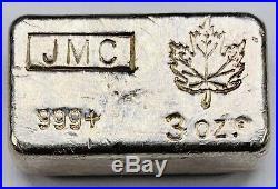3 oz Poured JMC Johnson Matthey Maple Leaf Silver Bar Rare Low Mintage Ingot