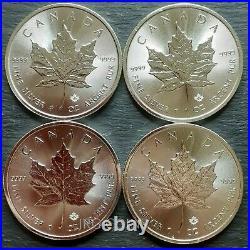 4 x 2019 Canadian 1 oz maple leaf 999.9 Silver Bullion Coin