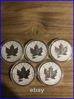 5-2016 Canadian Maple Leaf coin Reverse Proof Tank Privy Silver Mintage 50,000