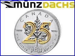 $5 Dollar 25th Anniversary Silver Maple Leaf Gilded Edition 2013 Canada only 525