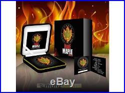 $5 Dollar Black Burning Fire Maple Leaf 2014 Ruthenium Gold 1 oz Silver Canada