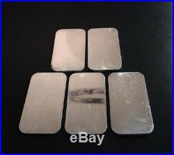 (5) ENGELHARD 1 oz. 999+ Silver Bars EI-11 Maple Leaf, Bull, No Border Reverse