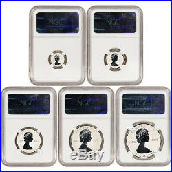 5-pc. 2013 Canada Silver Maple Leaf Reverse Proof Set NGC PF70