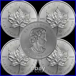 5 x 2020 Canadian 1 oz maple leaf 999.9 Silver Bullion Coin