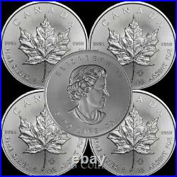 5 x Canadian 1 oz maple leaf 999.9 Silver Bullion Coin. Various years