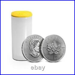 50 Canadian Silver Maple Leaf 1 Oz Pure Silver Coins 2 Plastic Tubes 2012 Year