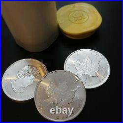 50 x 2020 1oz Silver Maple Leaf Bullion Coins in two Canadian Mint Tubes