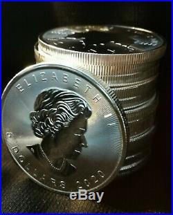 5x 2020 1oz Canadian Silver Maple Leaf Bullion Coin