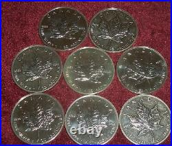 8 CANADA SILVER MAPLE LEAVES, $5 COINS, 1989 1993, 1 TOz. 9999 SILVER Each