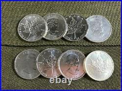 8X 2010 Canada silver maple leaf 1Oz coins
