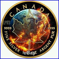 APOCALYPSE MAPLE LEAF 2016 1 oz Pure Silver Coin Black Ruthenium, 24KT Gold