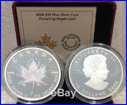 Ann 2020 PML Pulsating Maple Leaf $10 2OZ Pure Silver Proof Coin Canada e u$